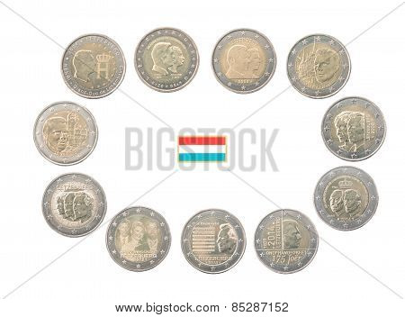 Set Of Commemorative 2 Euro Coins Of Luxembourg