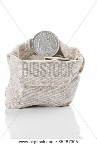 Old Silver Coins In Bag