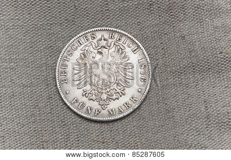 Old Silver German Reichfive Mark