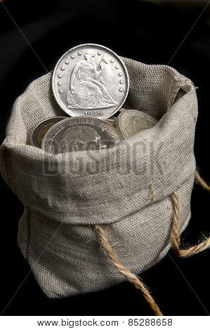 Old Silver Dollar Of Usa