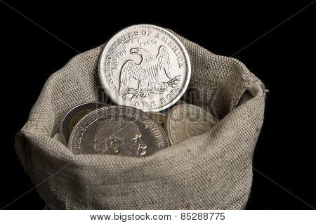 Sack Bag With Old Silver Coins