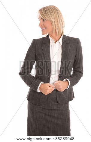 Attractive middle aged businesswoman looking sideways to text.