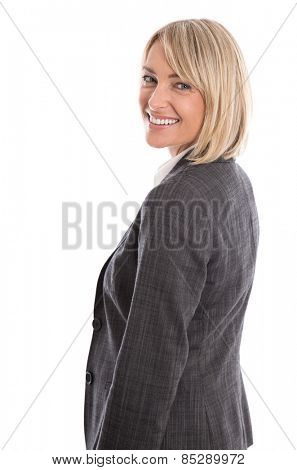 Attractive mature isolated blond woman in business outfit.