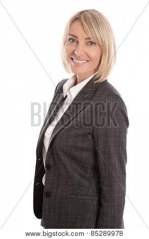 Successful mature businesswoman isolated over white background.