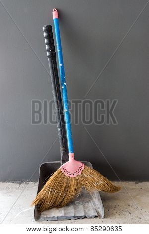 Old Broom And Dustpan