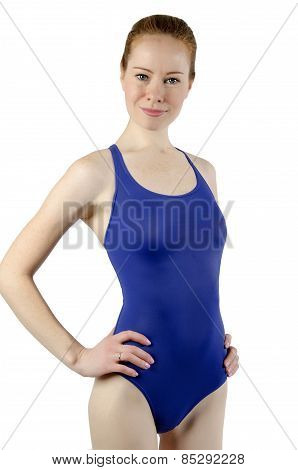 Sport Girl In A Blue Bathing Suit On A White