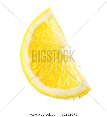 Juicy slice of lemon isolated on white