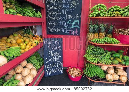 Pineapples And Other Fruits For Sale At A Roadside Stand On Maui Hawaii