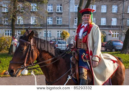 KRAKOW, POLAND - NOV 11, 2014: Unidentified participants celebrating National Independence Day an Republic of Poland - is a public holiday, celebrated every year from 1918 year.