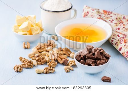 Chocolate Chunks, Eggs, Butter, Nuts And Cup Of Flour