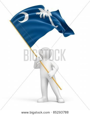 Man and flag of South Carolina (clipping path included)