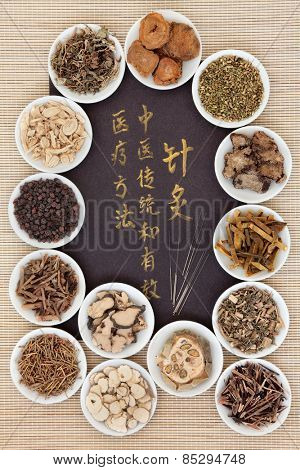 Acupuncture needles and chinese herbal medicine selection with calligraphy script. Translation reads as acupuncture chinese medicine is a traditional and effective medical solution.