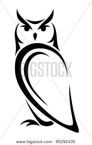 Owl. Vector black silhouette.
