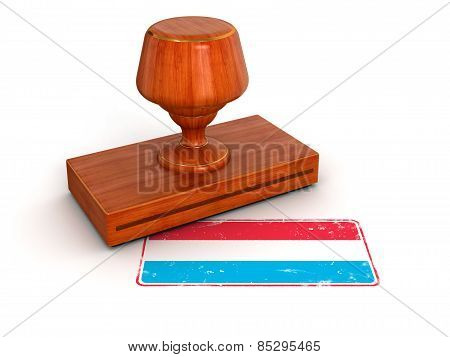 Rubber Stamp Luxembourg flag (clipping path included)