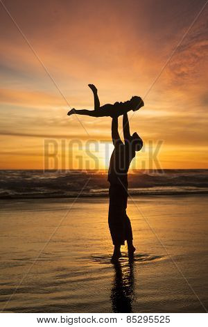 Happy Father Playing With Son At Beach