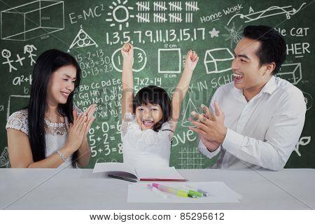 Happy Girl Get Applaud In Classroom