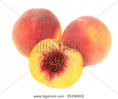 Peaches Isolated On White Background