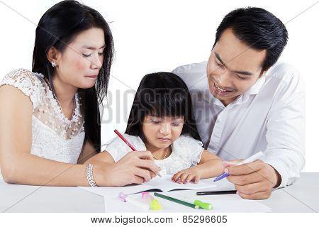 Little Schoolgirl Learn To Write