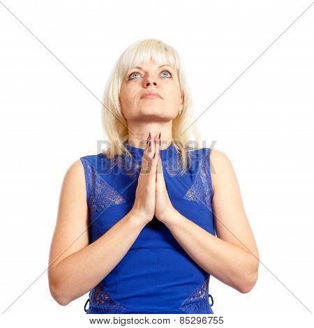 Woman In Dress Praying