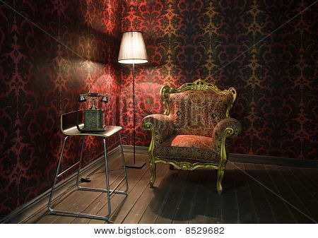 corner of the room with red wallpaper floor lamp and armchair