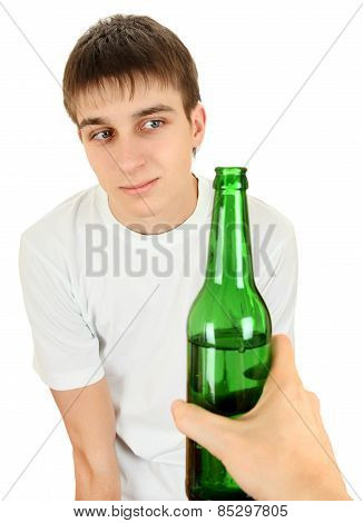 Hesitant Teenager And Beer
