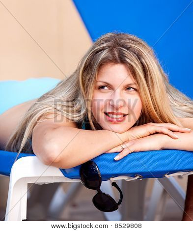Woman On Beach Chair