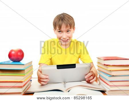 Schoolboy With Tablet Computer