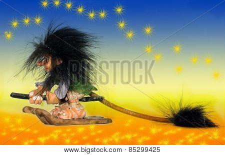 fairy flying on broom