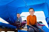 picture of cabana  - Kids at luxury resort relaxing at beach cabana - JPG
