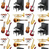 picture of musical instrument string  - Seamless musical instrument with piano and violin - JPG