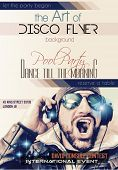 picture of clubbing  - Disco Night Club Flyer layout with Disck Jockey shape and music themed elements to use for Event Poster - JPG