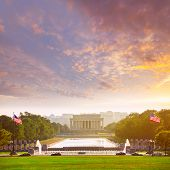 picture of abraham  - Abraham Lincoln Memorial building sunset Washington DC US USA - JPG