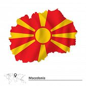 pic of macedonia  - Map of Macedonia with flag  - JPG