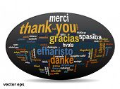 picture of appreciation  - Vector concept or conceptual abstract thank you word cloud in different languages or multilingual for education or thanksgiving day - JPG