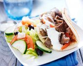 stock photo of greek  - greek salad and gyro platter - JPG
