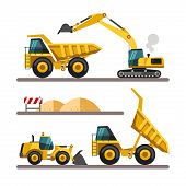 foto of excavator  - Set of building machines - JPG