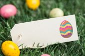 foto of laying eggs  - easter egg against blank tag with easter eggs - JPG