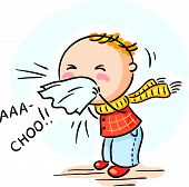 stock photo of sneezing  - Cartoon child has got flu and is sneezing - JPG