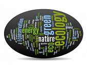 stock photo of environment-friendly  - Concept or conceptual abstract green ecology and conservation word cloud text on black background - JPG
