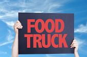 picture of food truck  - Food Truck card with sky background  - JPG