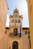 stock photo of city hall  - Alcudia Old Town city town hall in Majorca Mallorca Balearic island of Spain Ayuntamiento - JPG