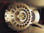 pic of vault  - classic vault door and laser allarm - JPG