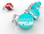picture of clientele  - Manage Pipeline words on balls pushed by winning business people and one person struggling by ignoring his sales pipeline and losing customers - JPG