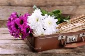 picture of old suitcase  - Old wooden suitcase with old books and flowers on wooden background - JPG