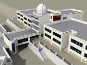 stock photo of school building  - Architecture 3d sketch of the school building with an observatory - JPG