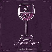 image of glass heart  - Purple love card with a glass of wine filled with hearts vector - JPG