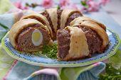 image of meatloaf  - Meatloaf ring stuffed eggs for a Easter - JPG