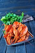 picture of creole  - boiled cancer on metal tray and on a table - JPG