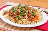 foto of curry chicken  - healthy home made chicken chow mein or chow mien with crispy noodles - JPG