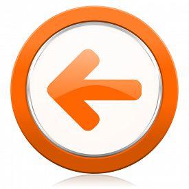 foto of arrow  - left arrow orange icon arrow sign  - JPG